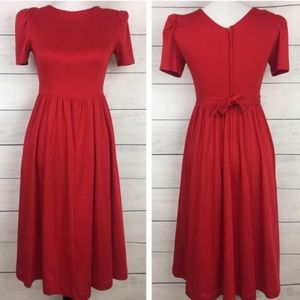 Vintage Lanz Midi Cotton Red Dress with Pockets